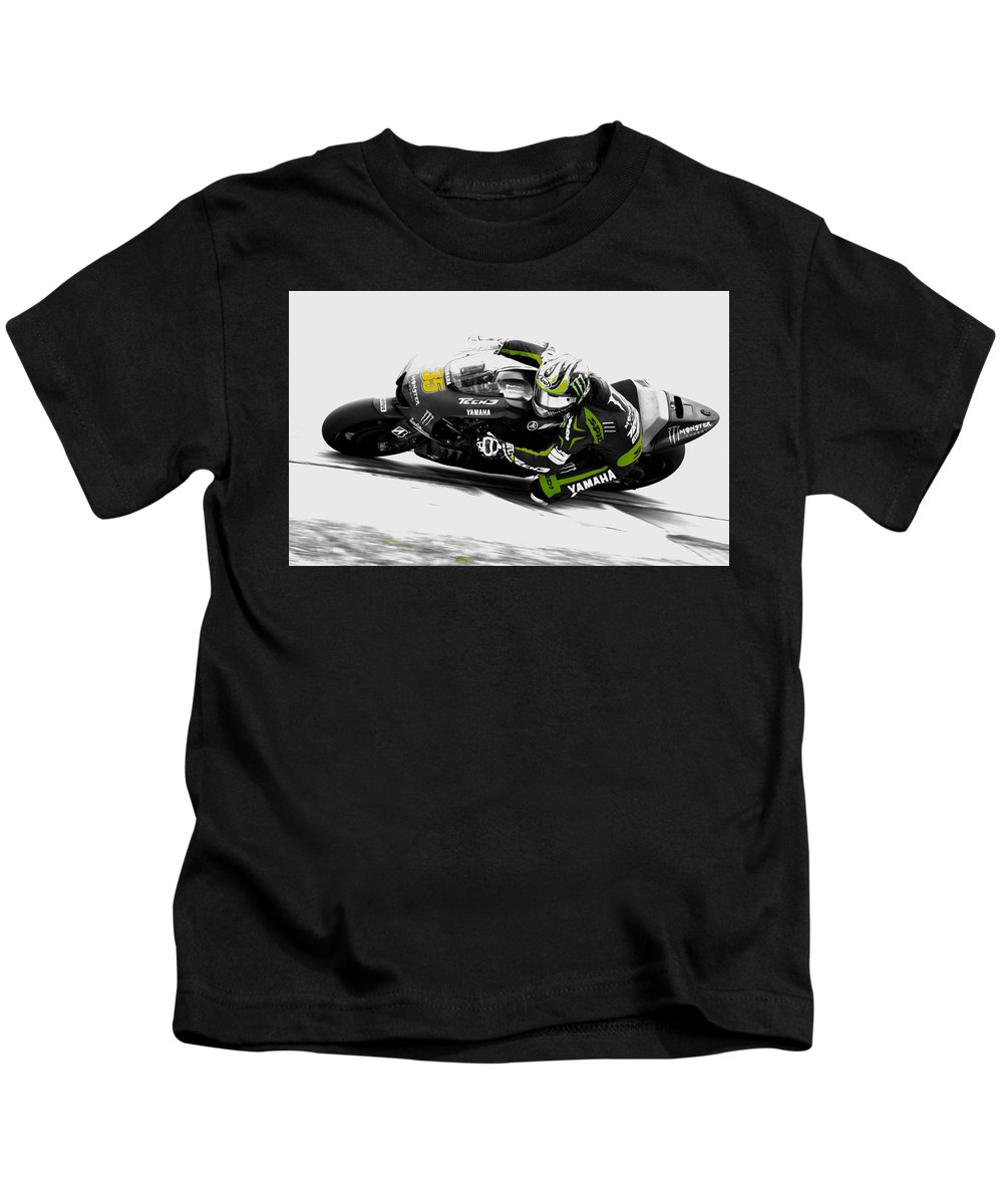 Cal Crutchlow Kids T-Shirt featuring the mixed media Cal Crutchlow by Brian Reaves