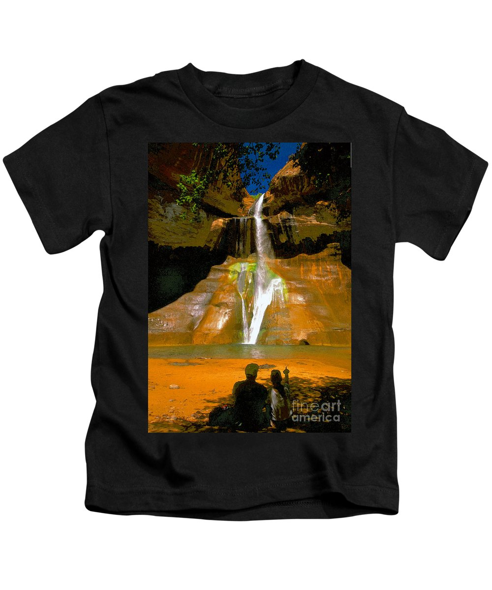 Calf Creek Falls Utah Kids T-Shirt featuring the painting Calf Creek Falls Utah by David Lee Thompson