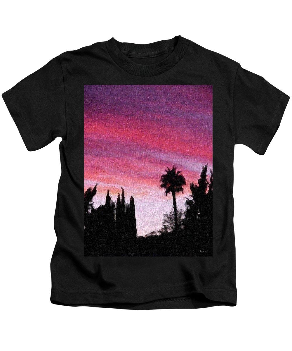 California Kids T-Shirt featuring the painting California Sunset Painting 2 by Teresa Mucha