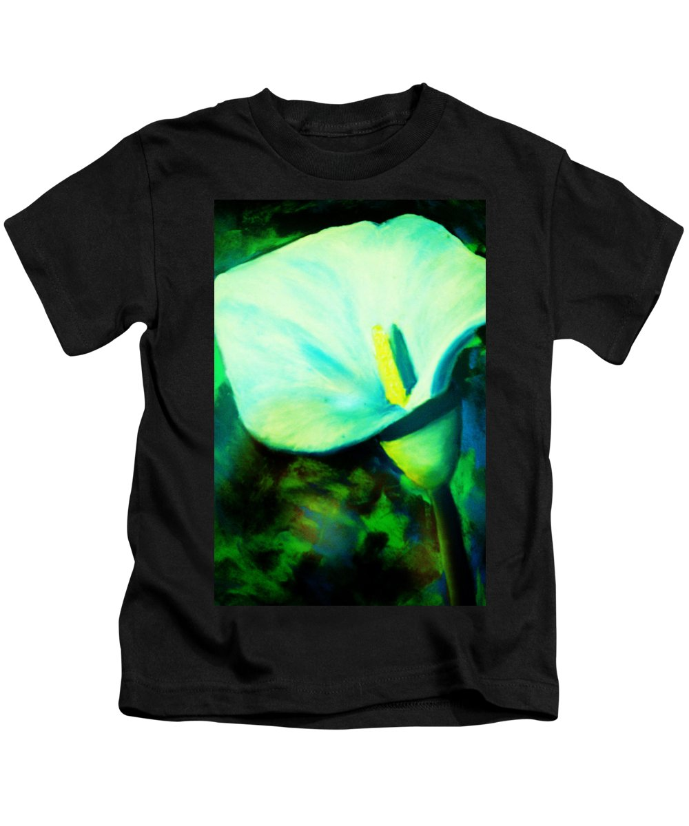 White Calla Lily Kids T-Shirt featuring the painting Calla Lily by Melinda Etzold