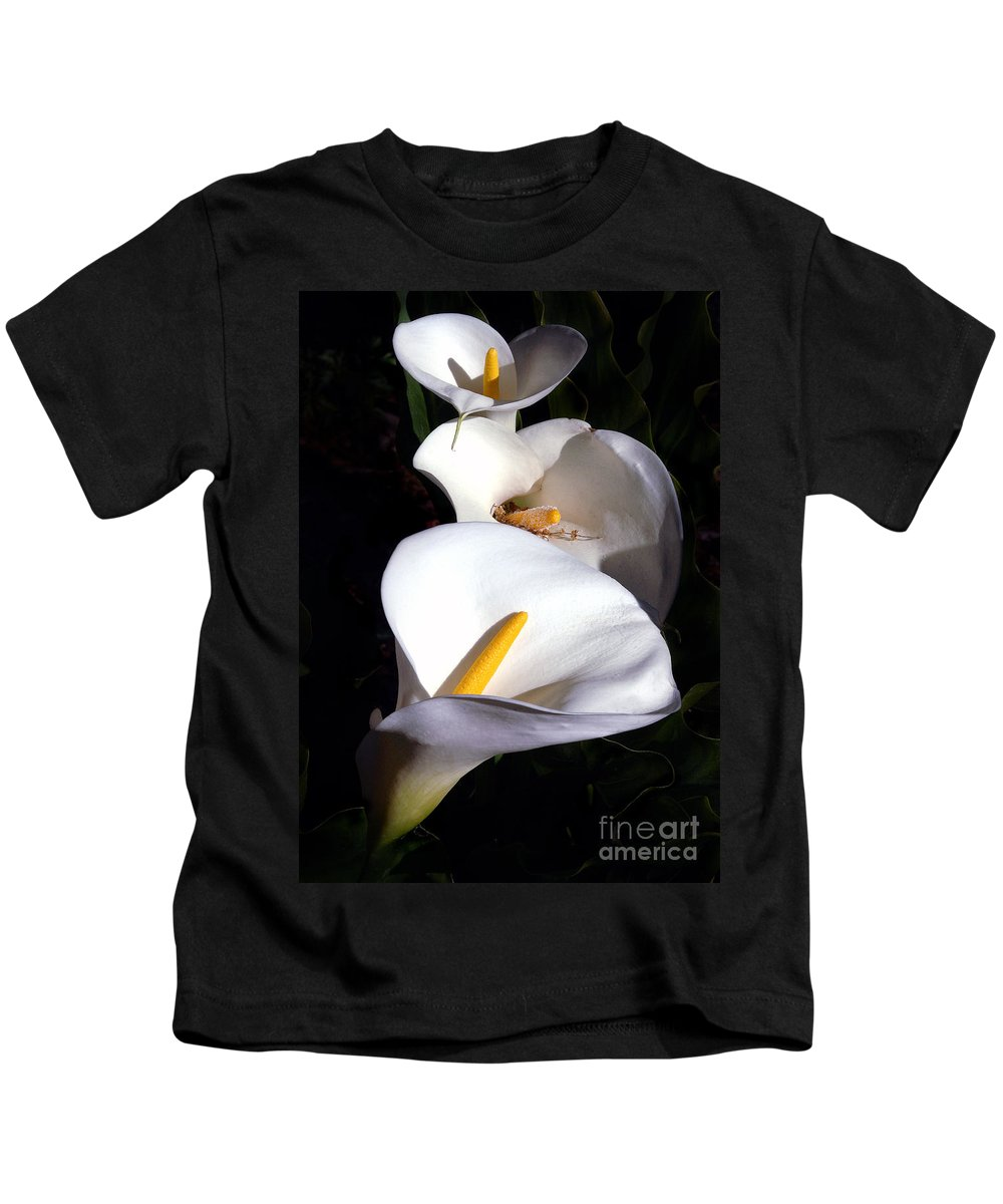 Nature Kids T-Shirt featuring the photograph Calla Trio by Norman Andrus