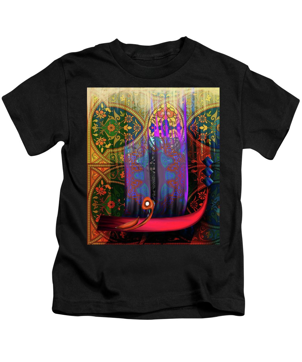 Abstract Kids T-Shirt featuring the painting Calligraphy 121 2 by Mawra Tahreem