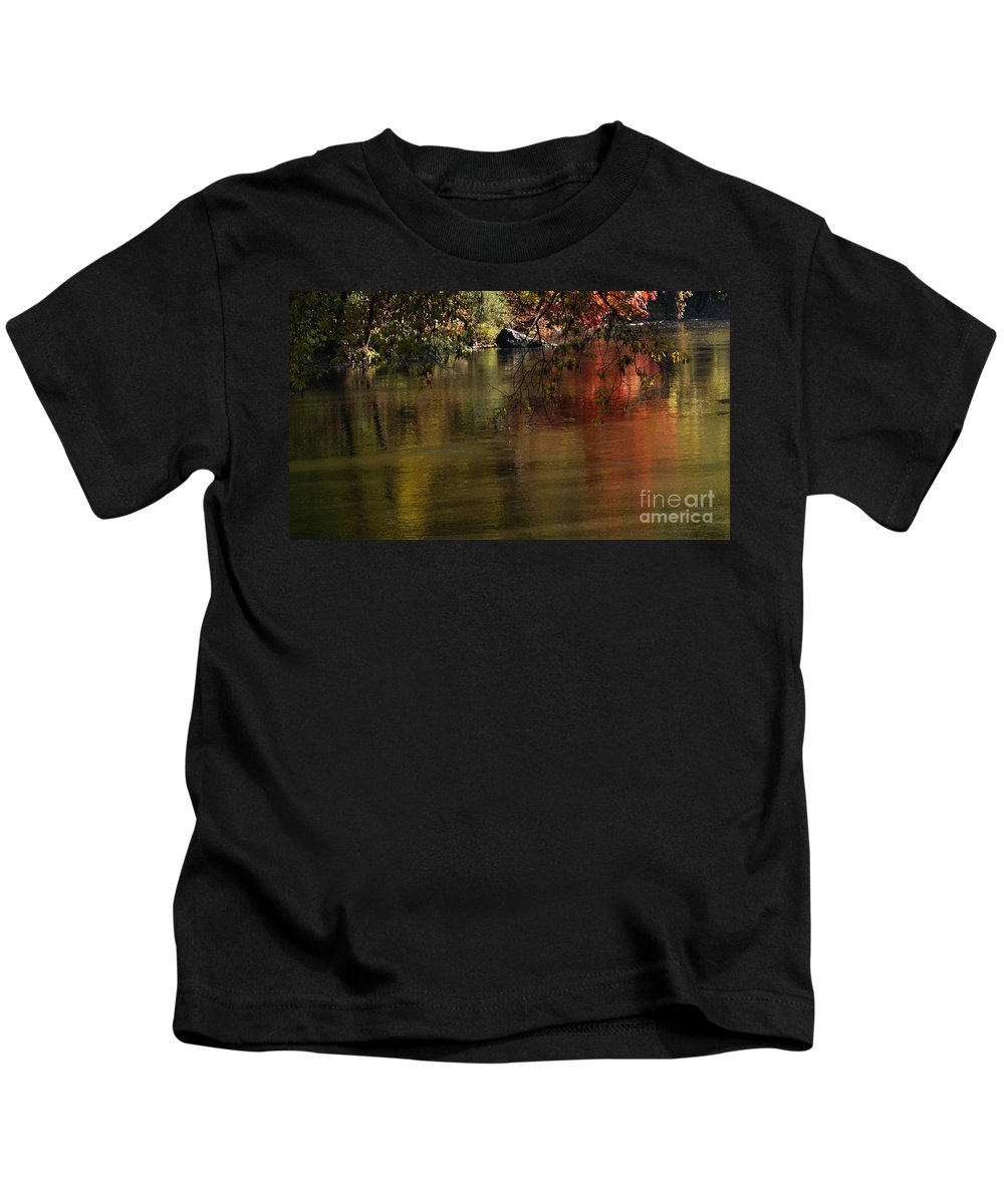 River Kids T-Shirt featuring the photograph Calm Reflection by Linda Shafer