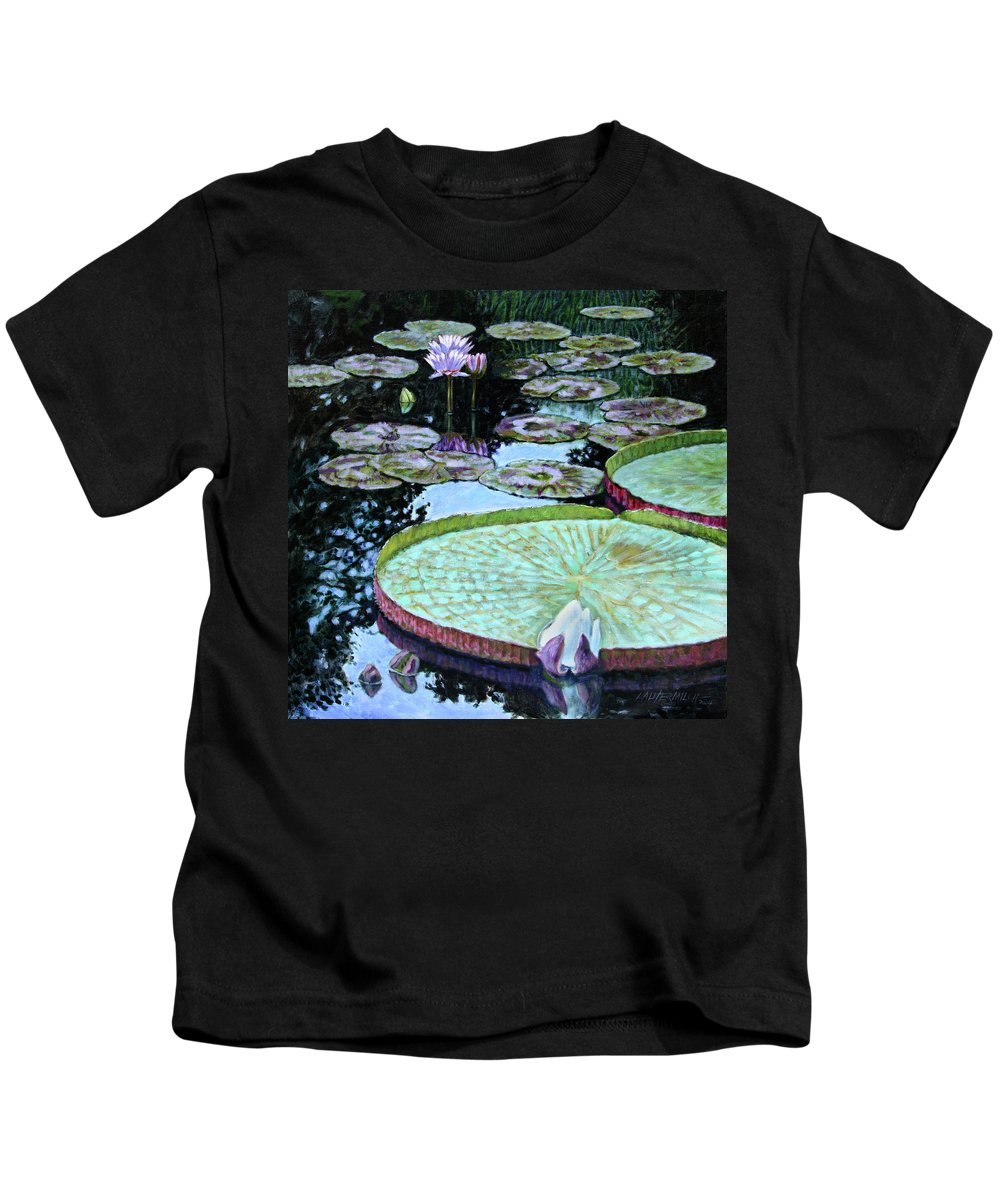 Water Lilies Kids T-Shirt featuring the painting Calm Reflections by John Lautermilch