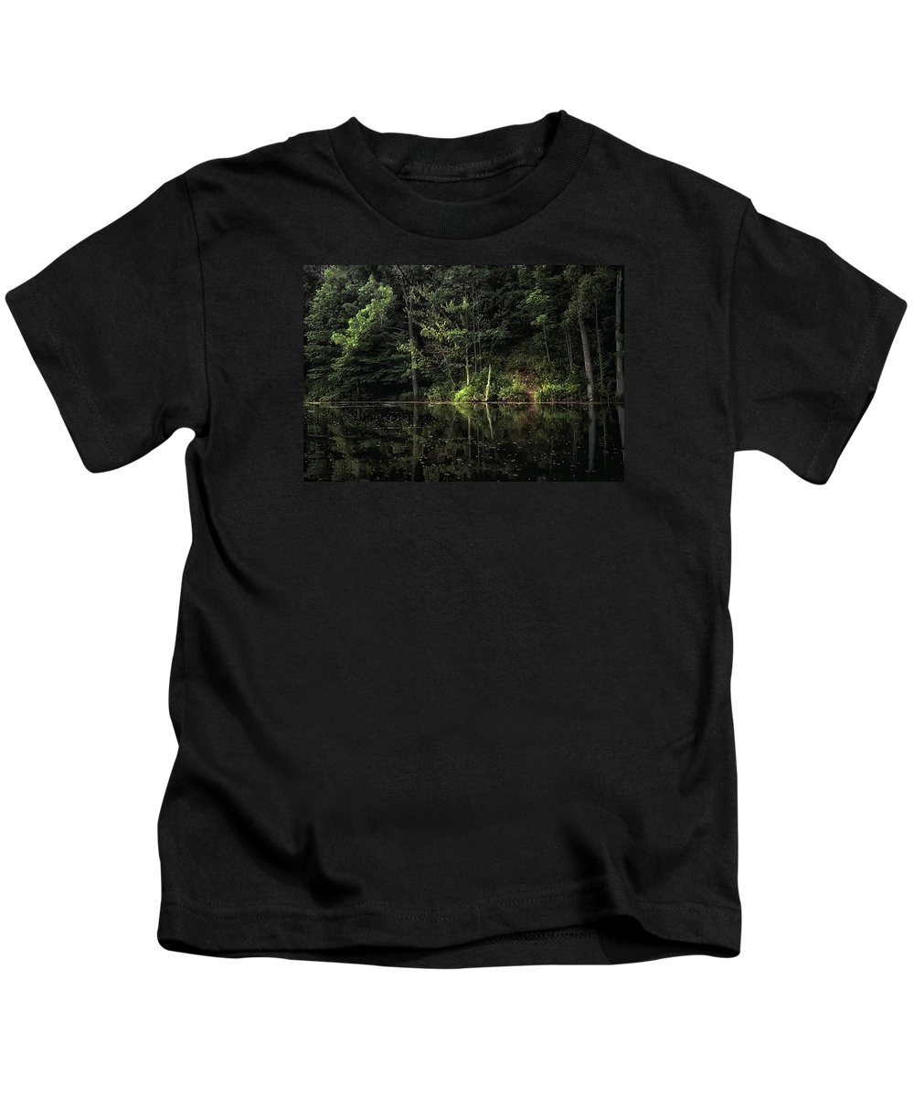 Lakes Kids T-Shirt featuring the photograph Calm Waters by Elaine Malott