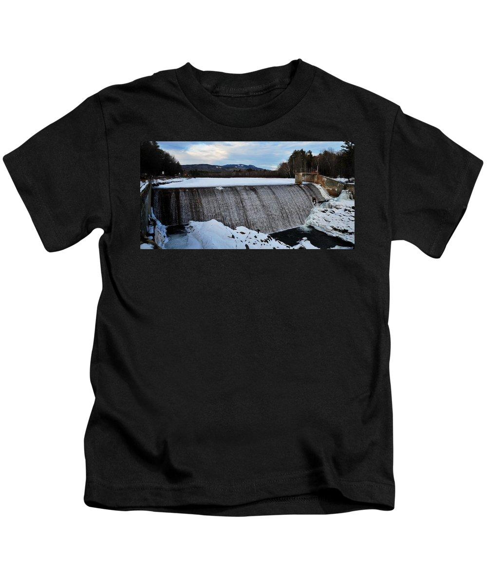 Campton Pond Dam Campton New Hampshire Kids T-Shirt featuring the photograph Campton Pond Dam by Bill Driscoll