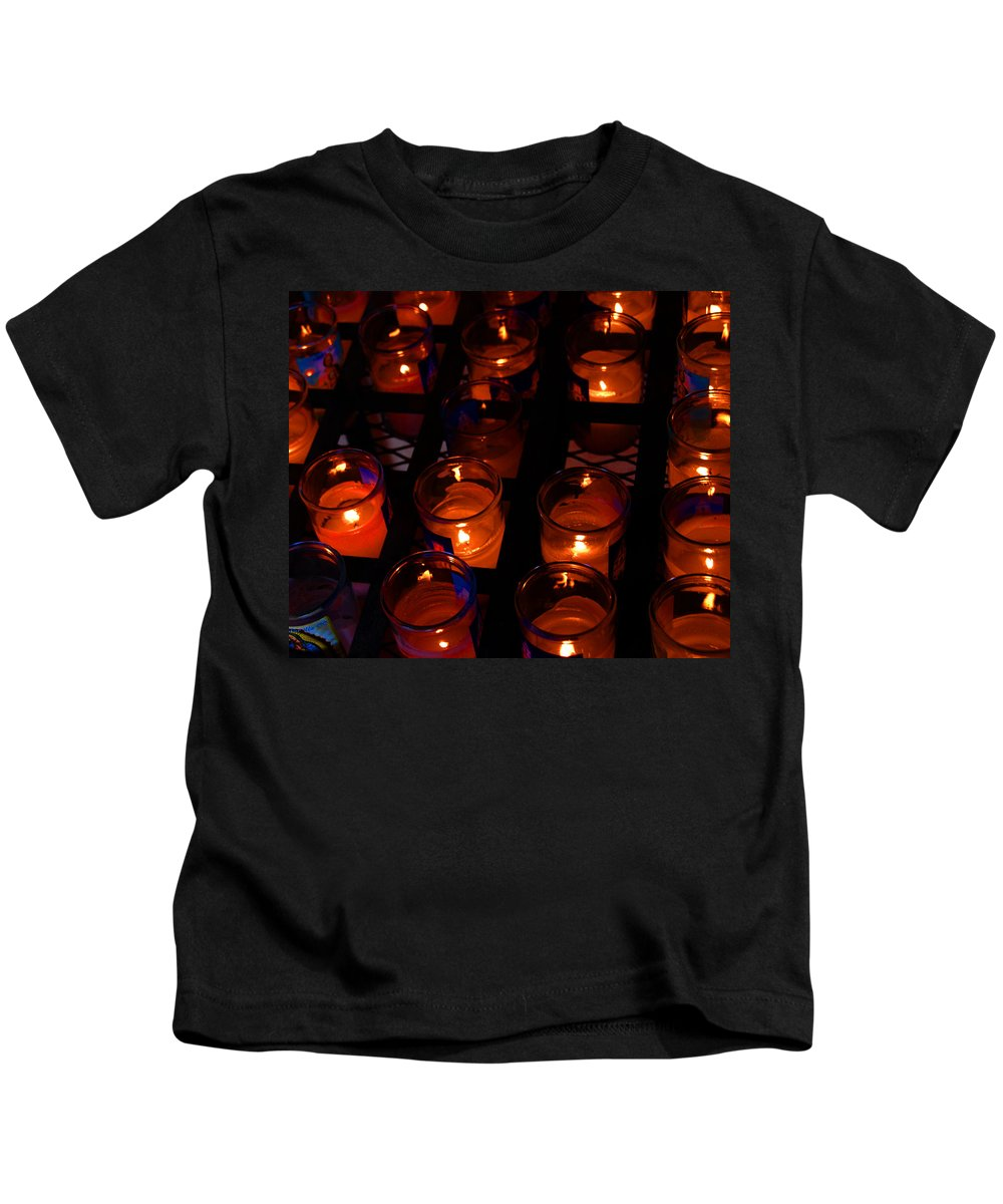 Candles Kids T-Shirt featuring the photograph Candles For Mother Maria by Susanne Van Hulst