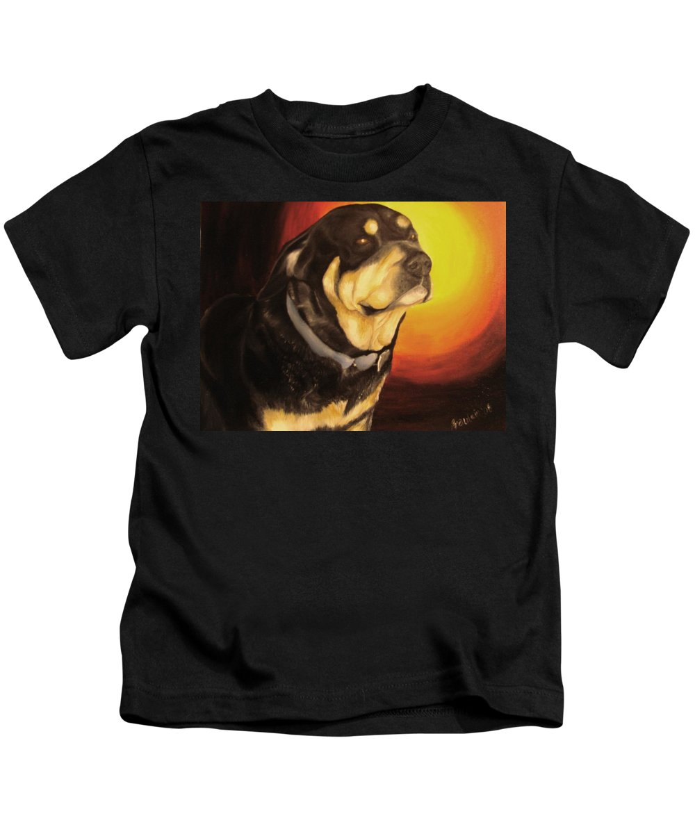 Paintings Kids T-Shirt featuring the painting Canine Vision by Glory Fraulein Wolfe