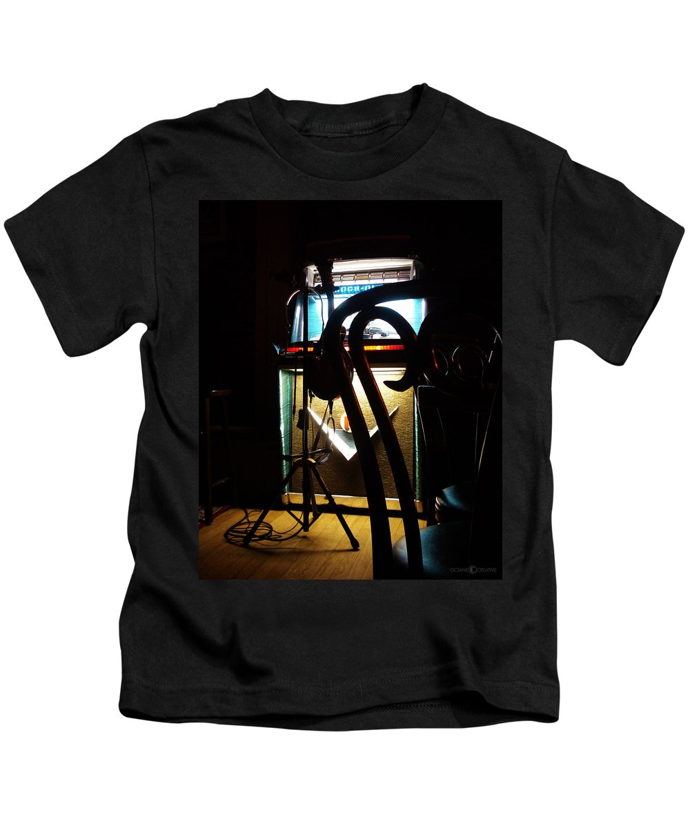 Music Kids T-Shirt featuring the photograph Canned Music by Tim Nyberg
