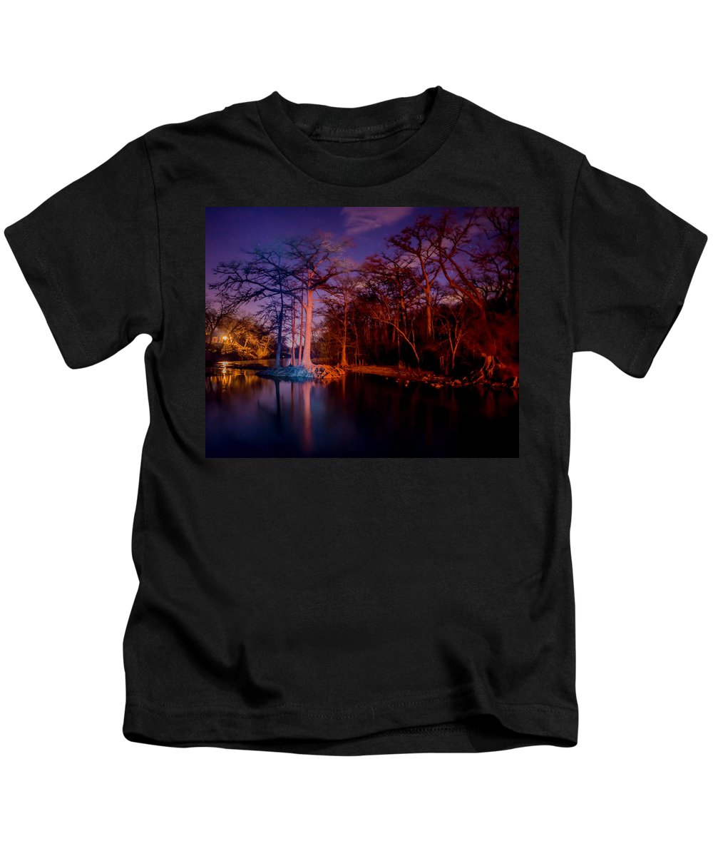 Texas Kids T-Shirt featuring the photograph Canyon Dam At Night by Cheryl Beck
