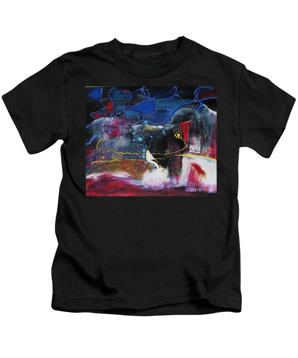 Abstract Kids T-Shirt featuring the painting Cape Spear by Seon-Jeong Kim