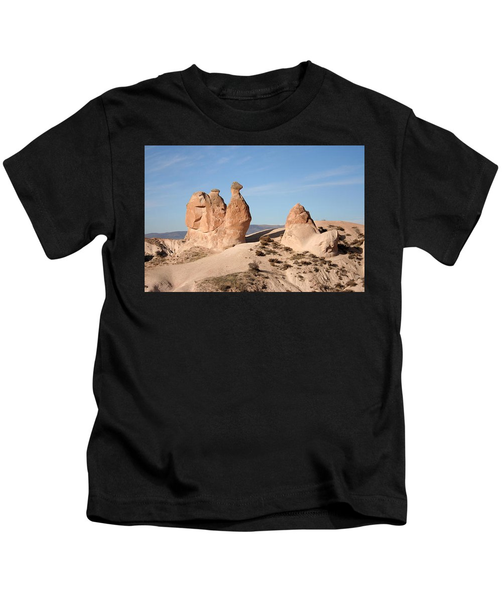 Caves Kids T-Shirt featuring the painting Cappadocia6 by Yesim Tetik