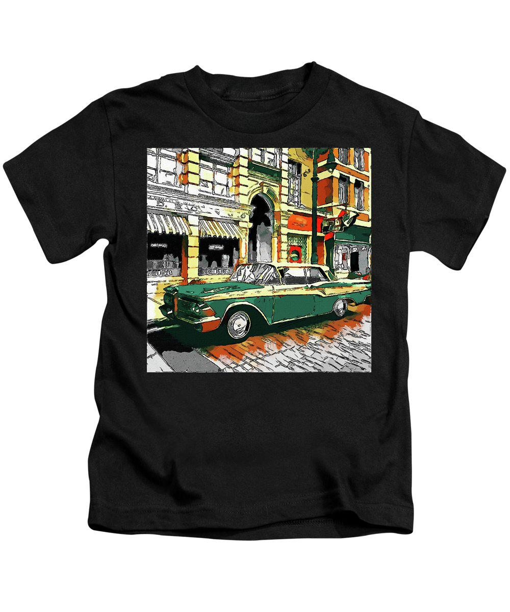 Colorful Works Of Art Kids T-Shirt featuring the digital art Car Club 1960s by Oleksandr Dorogyy