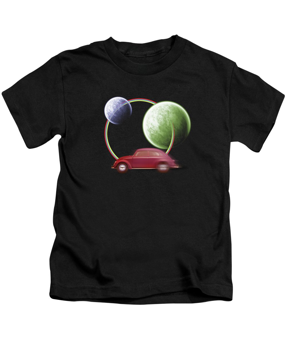 Space Kids T-Shirt featuring the digital art Car Space by Mark Ashkenazi