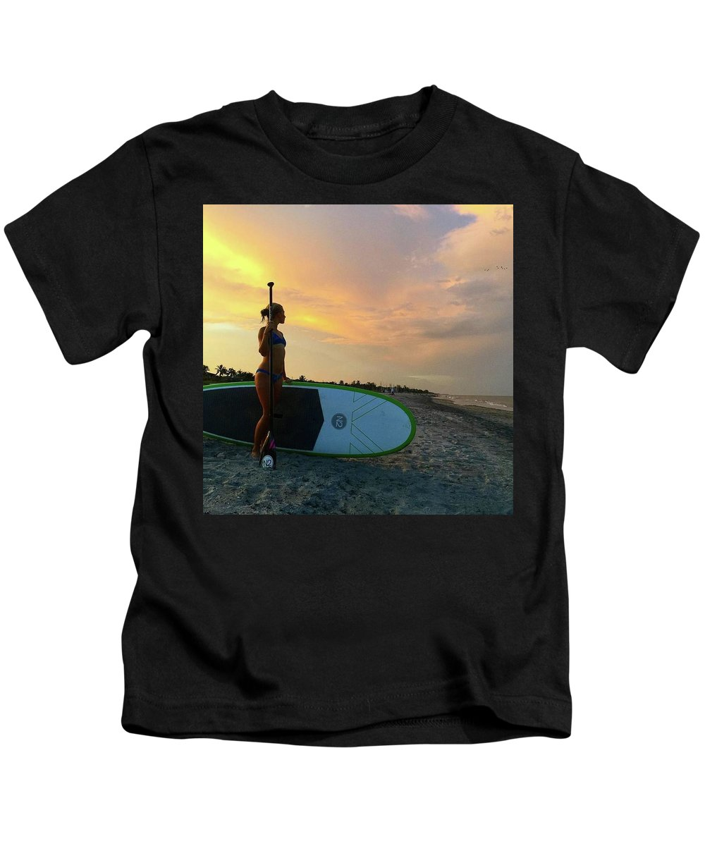 Kids T-Shirt featuring the photograph Carbon Fiber Paddle Sup by North2 Boards