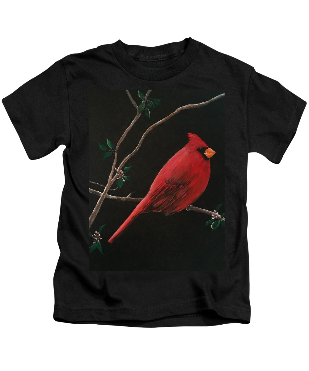 Bird Kids T-Shirt featuring the painting Cardinal by Mickey Clogher
