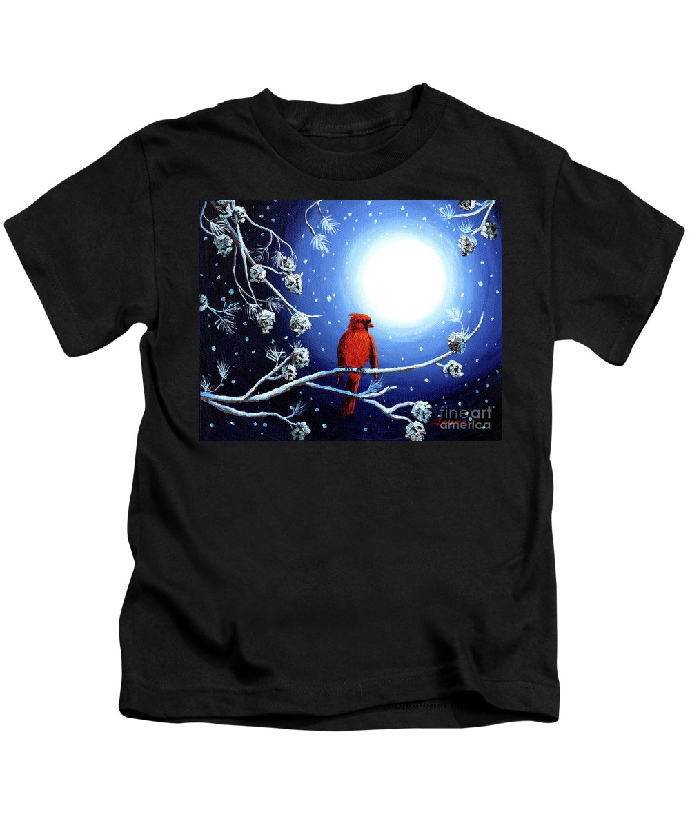 Christmas Kids T-Shirt featuring the painting Cardinal On Christmas Eve by Laura Iverson
