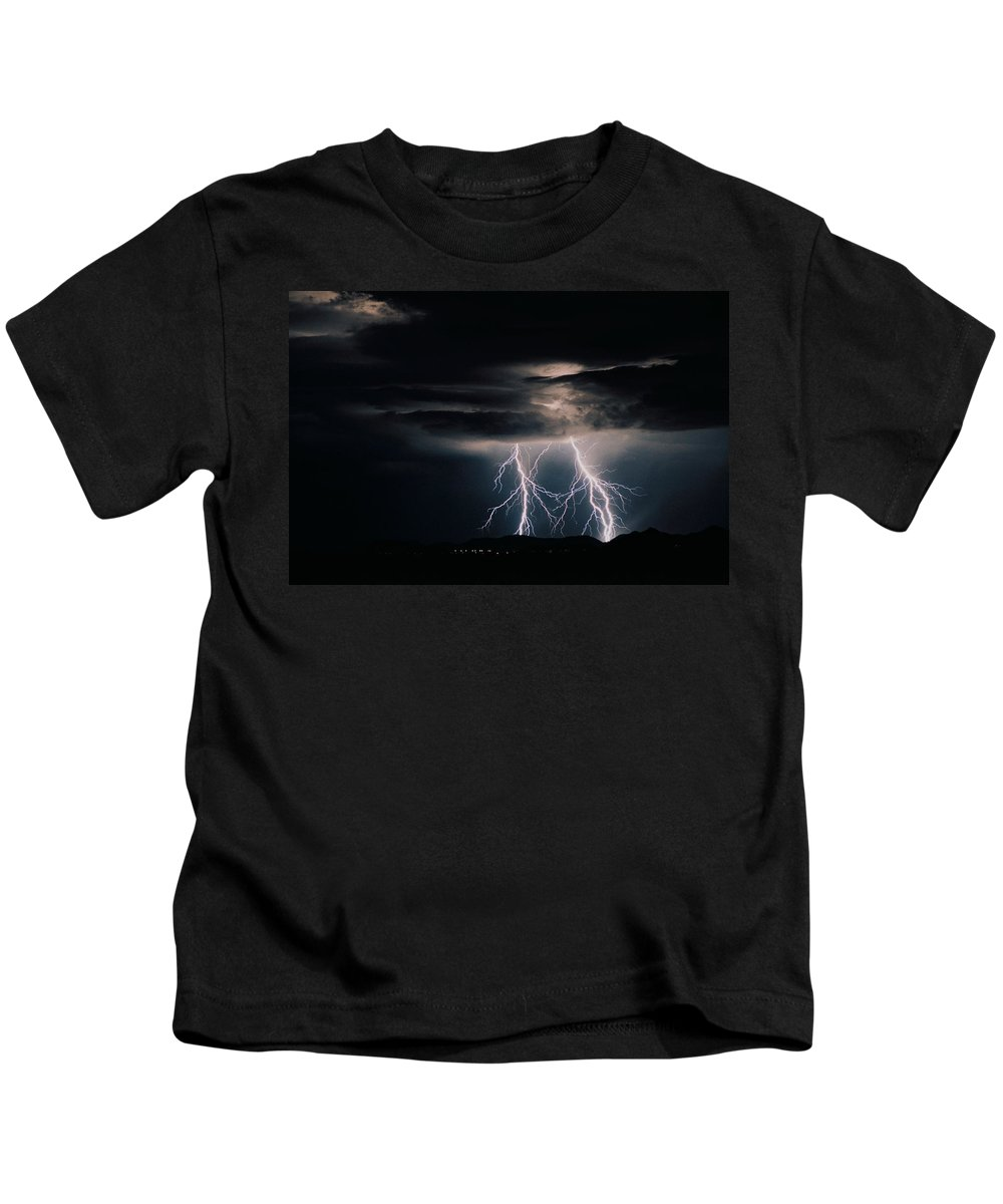 Arizona Kids T-Shirt featuring the photograph Carefree Lightning by Cathy Franklin