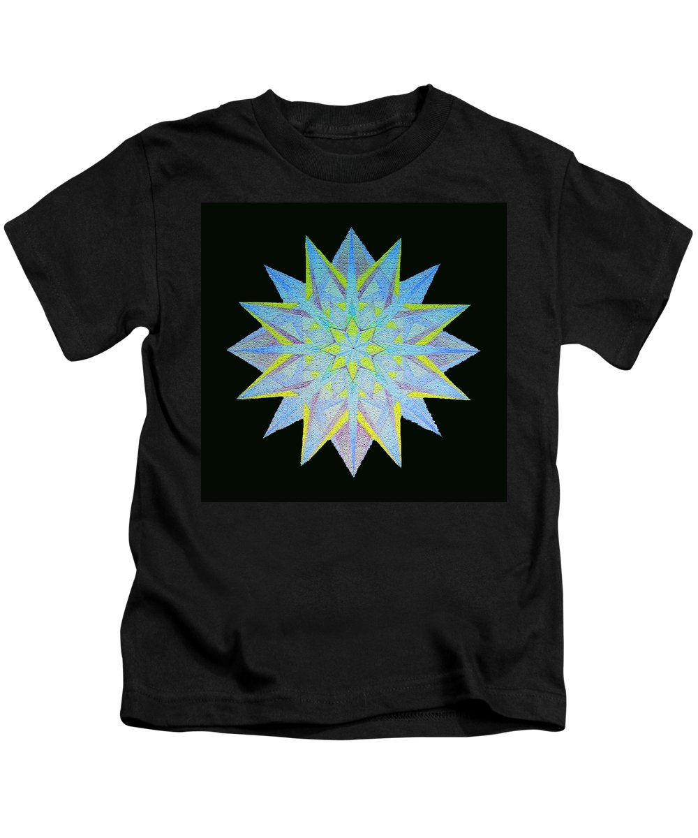 Mandala Kids T-Shirt featuring the drawing Caribbean Radiance by Merrill Masson