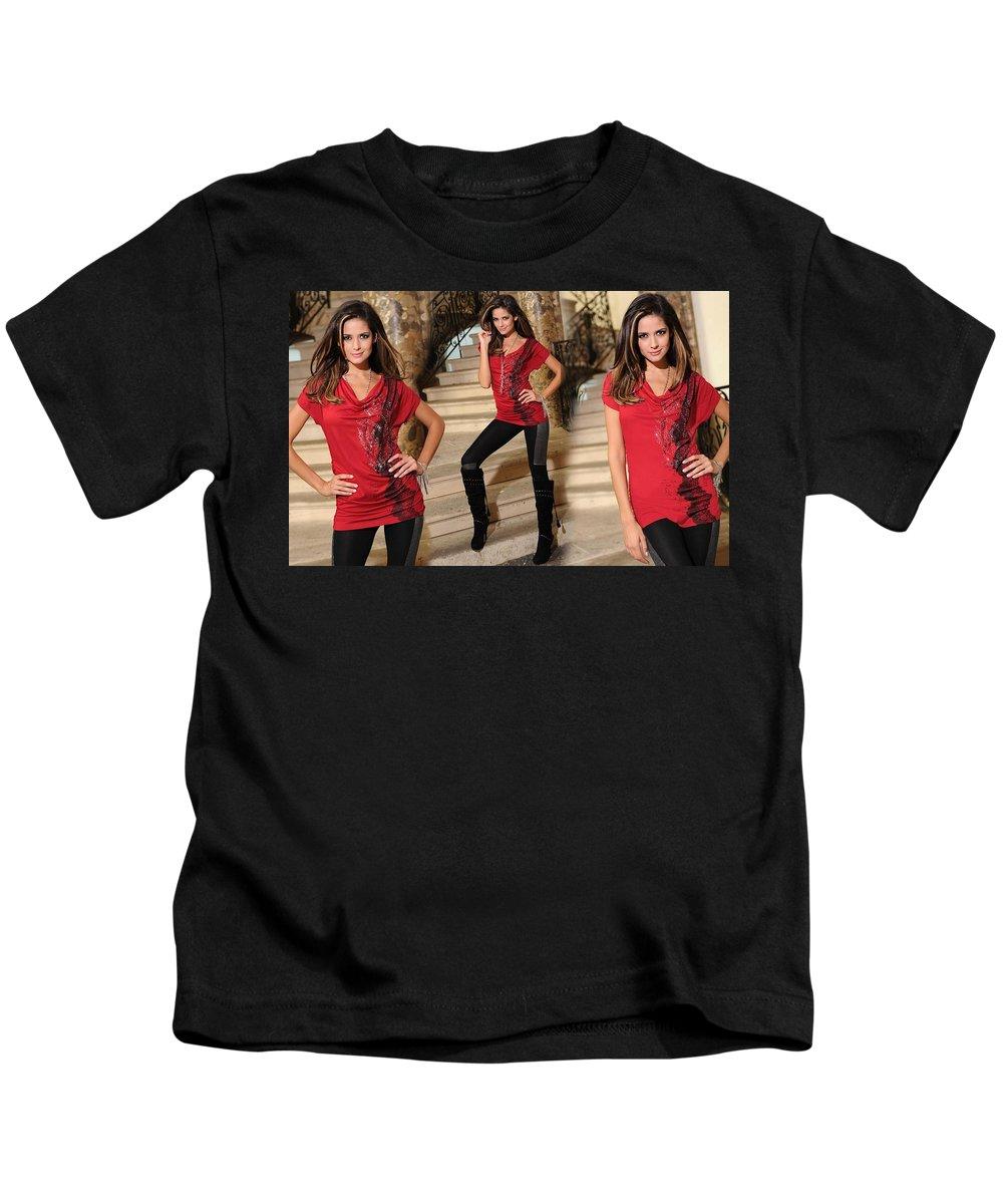 Carla Ossa Kids T-Shirt featuring the digital art Carla Ossa by Dorothy Binder