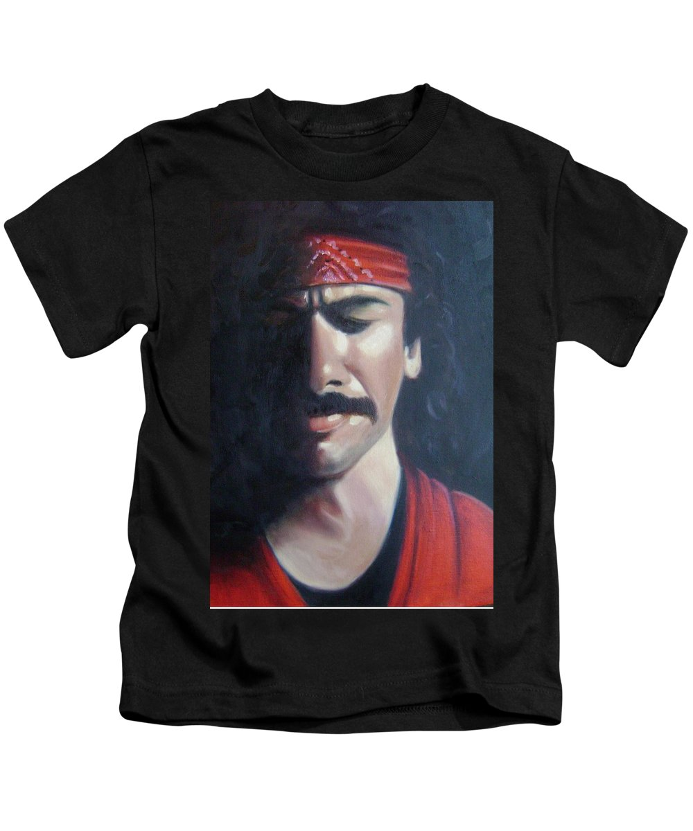 Santana Kids T-Shirt featuring the painting Carlos Santana by Toni Berry