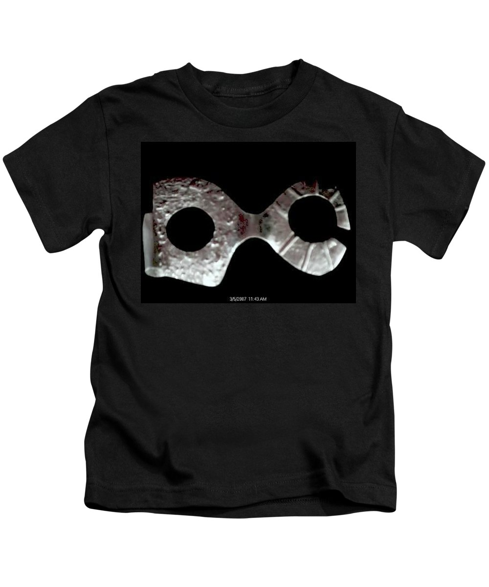 Carnival Type Face Mask For Wearing In .999 Fine Silver Kids T-Shirt featuring the sculpture Carnival 002 by Robert aka Bobby Ray Howle