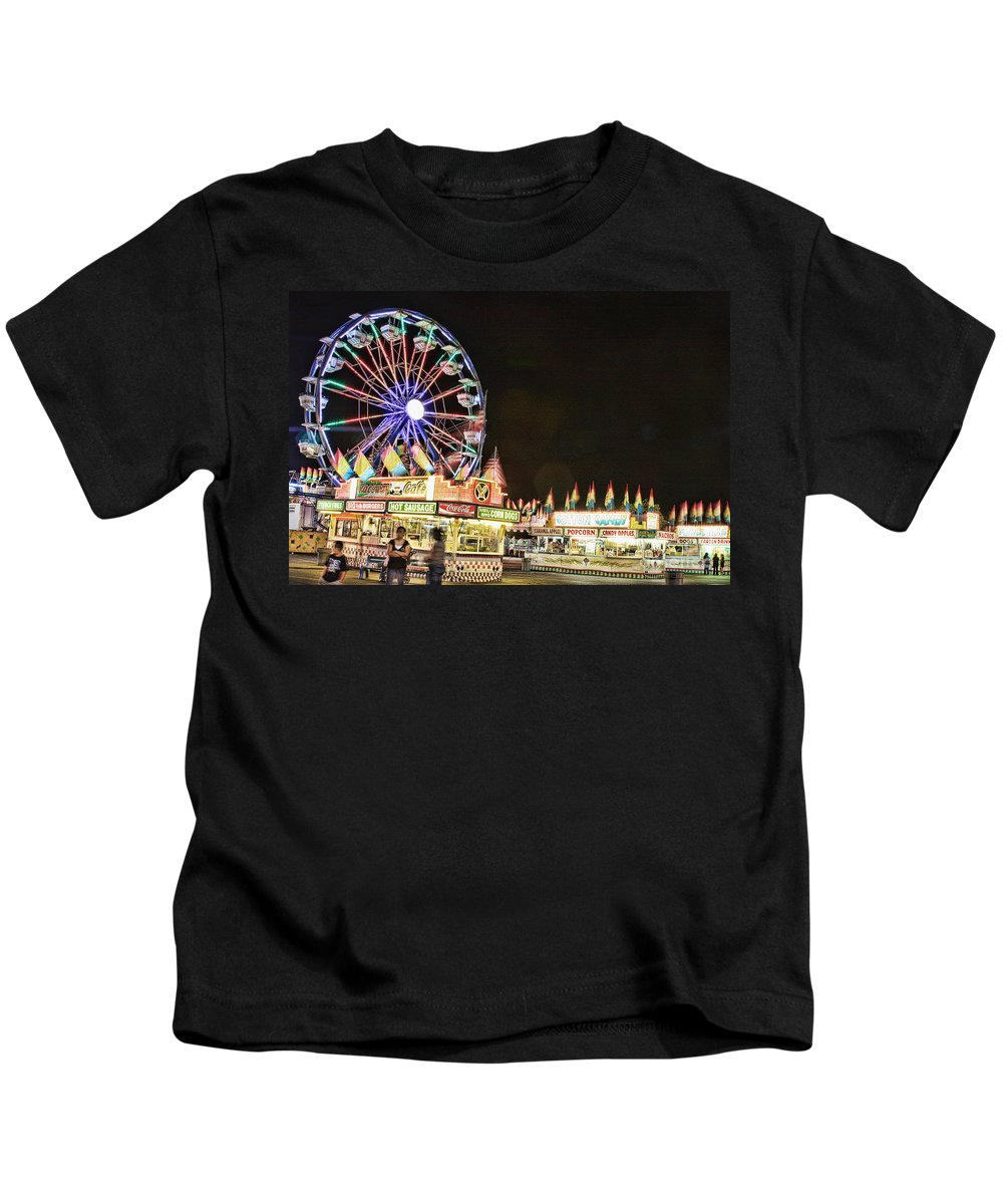 Carnival Images Kids T-Shirt featuring the photograph carnival Fun and Food by James BO Insogna