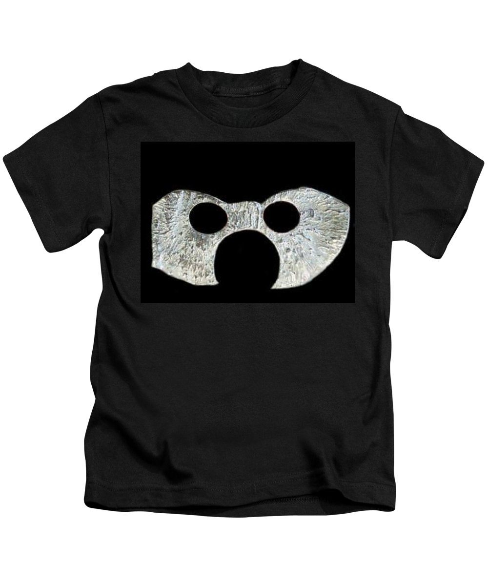 A Wearable Mardi Gras Carnival Or Costume Mask With A Leather Covered Holding Stick Kids T-Shirt featuring the sculpture Carnival Series by Robert aka Bobby Ray Howle