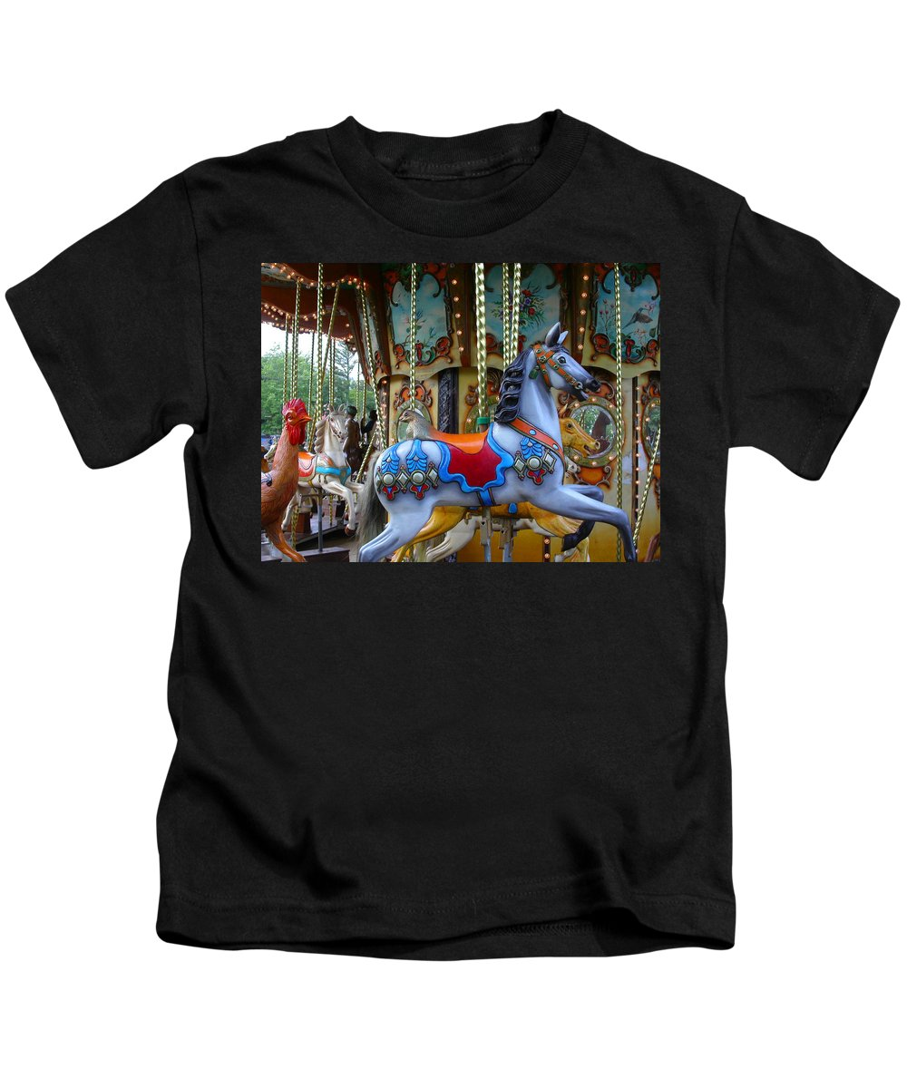 Carousel Kids T-Shirt featuring the photograph Carousel 1 by Anne Cameron Cutri