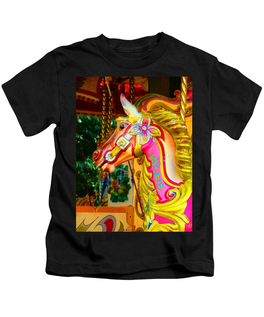 Alfie Kids T-Shirt featuring the photograph Carousel Horse London Alfie England by Heather Lennox