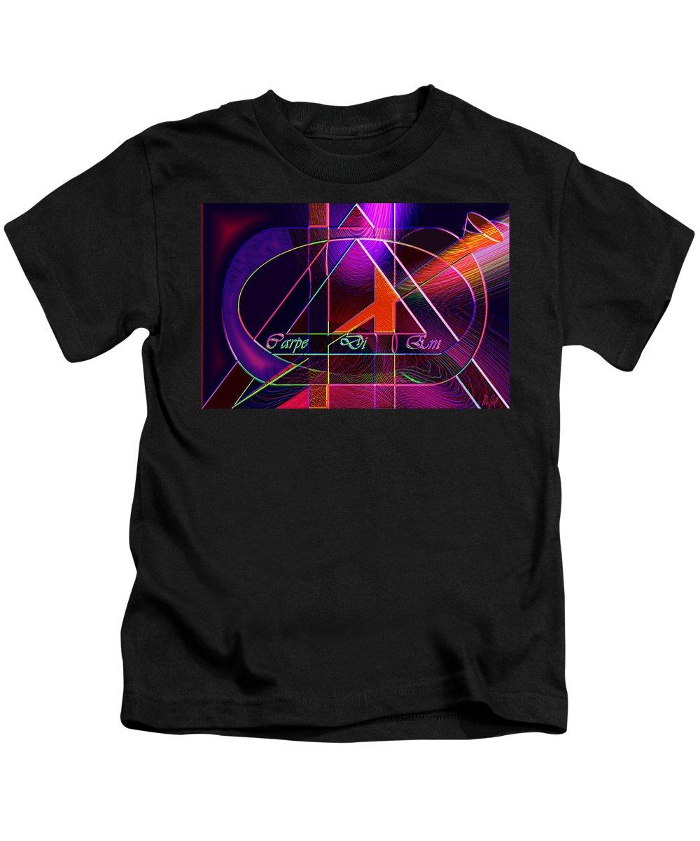 Carpediem Kids T-Shirt featuring the digital art Carpe Diem Orangecross by Helmut Rottler