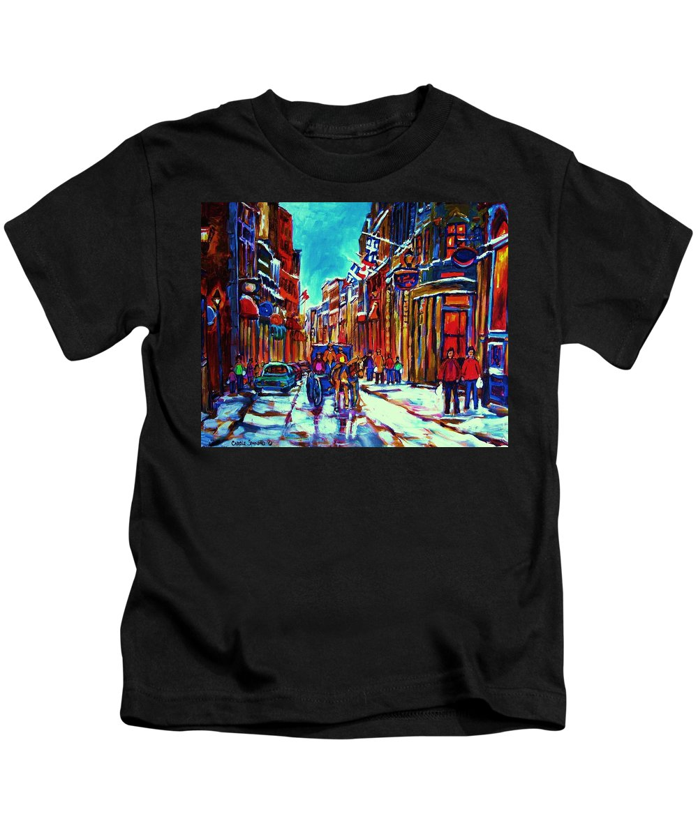 Old Montreal Kids T-Shirt featuring the painting Carriage Ride Through The Old City by Carole Spandau
