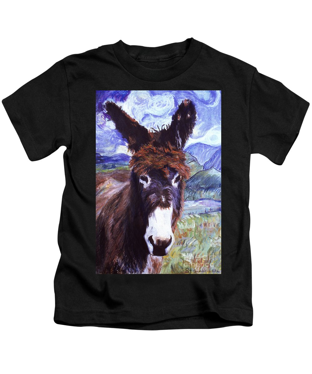 Pat Saunders-white Paintings Kids T-Shirt featuring the mixed media Carrot Top by Pat Saunders-White
