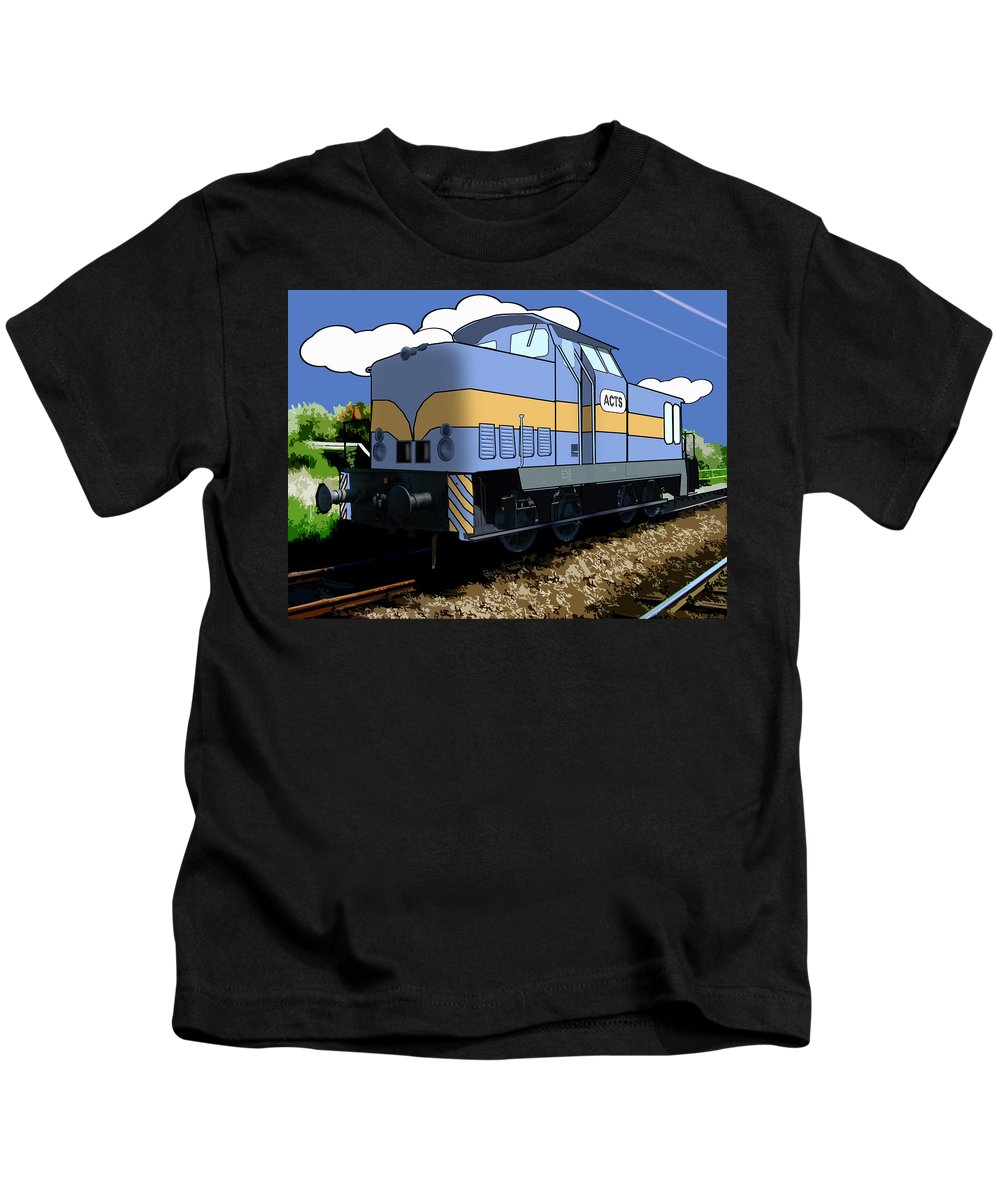 Train Kids T-Shirt featuring the digital art Illustrated Train by Gravityx9 Designs
