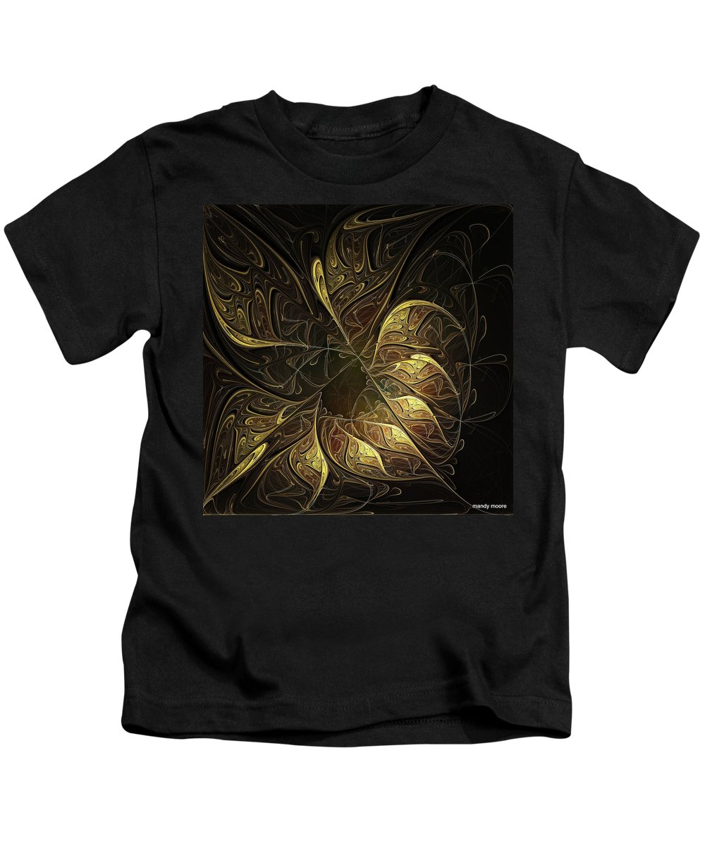 Digital Art Kids T-Shirt featuring the digital art Carved In Gold by Amanda Moore