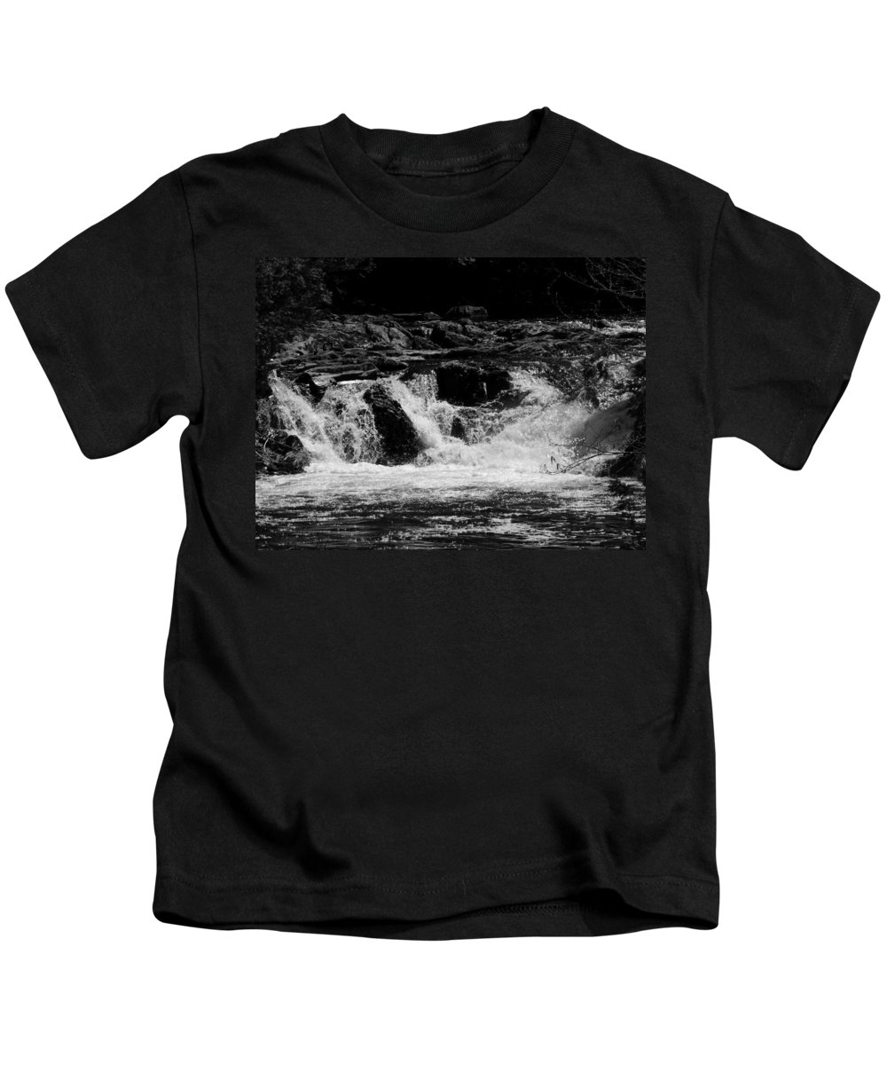 Black And White Kids T-Shirt featuring the photograph Cary Falls by William Tasker