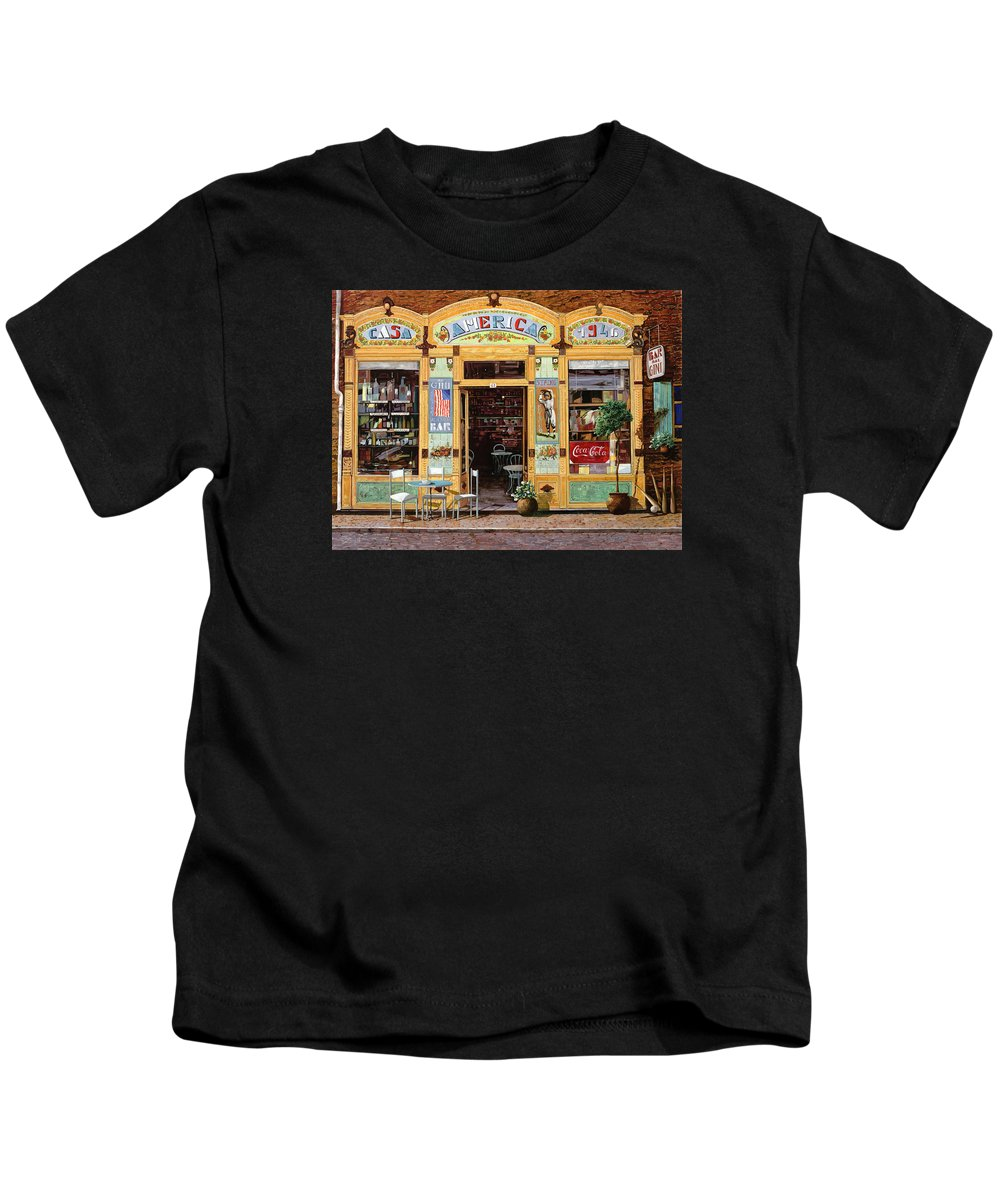 Coffe Shop Kids T-Shirt featuring the painting Casa America by Guido Borelli