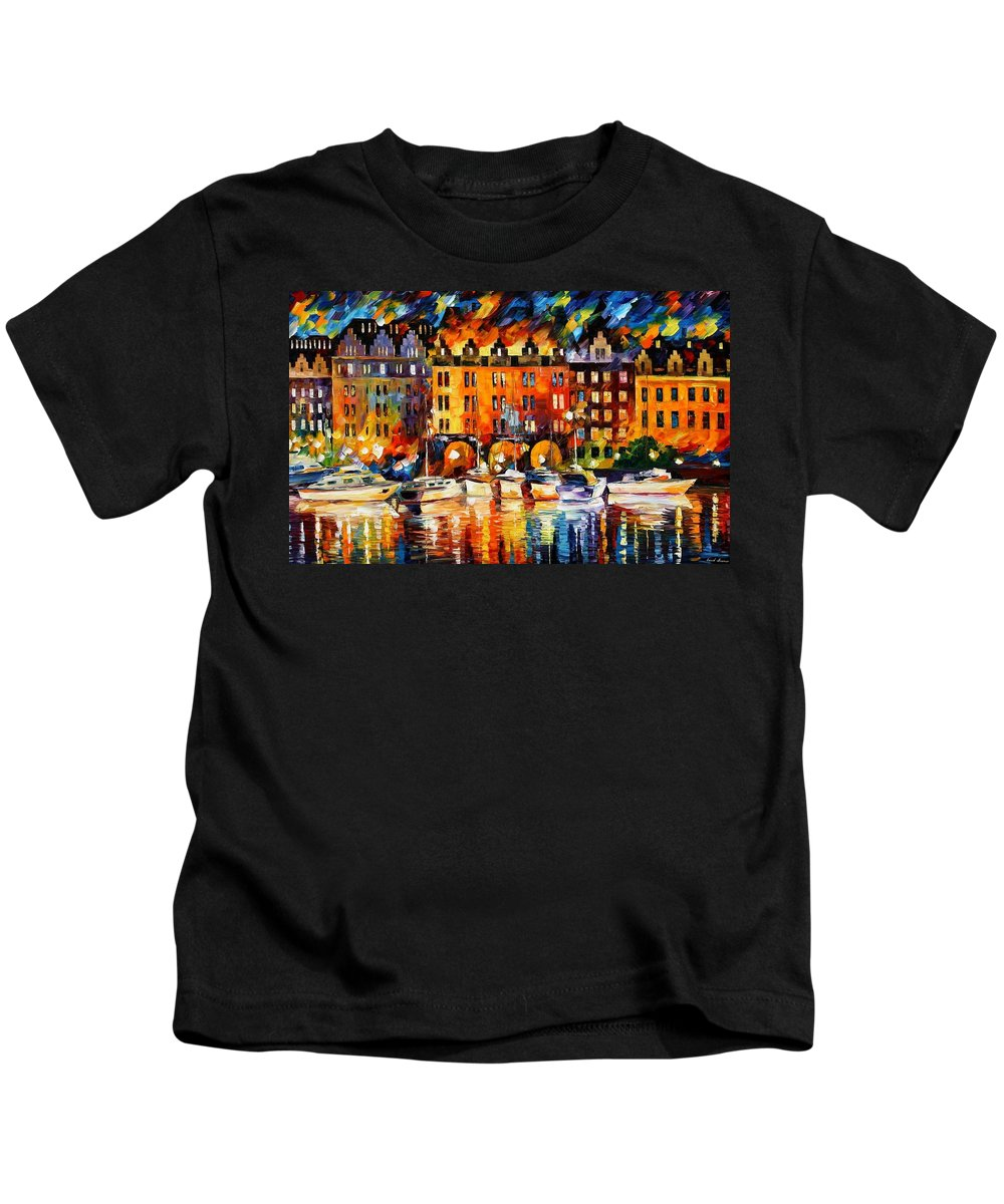 Afremov Kids T-Shirt featuring the painting Castle By The River by Leonid Afremov