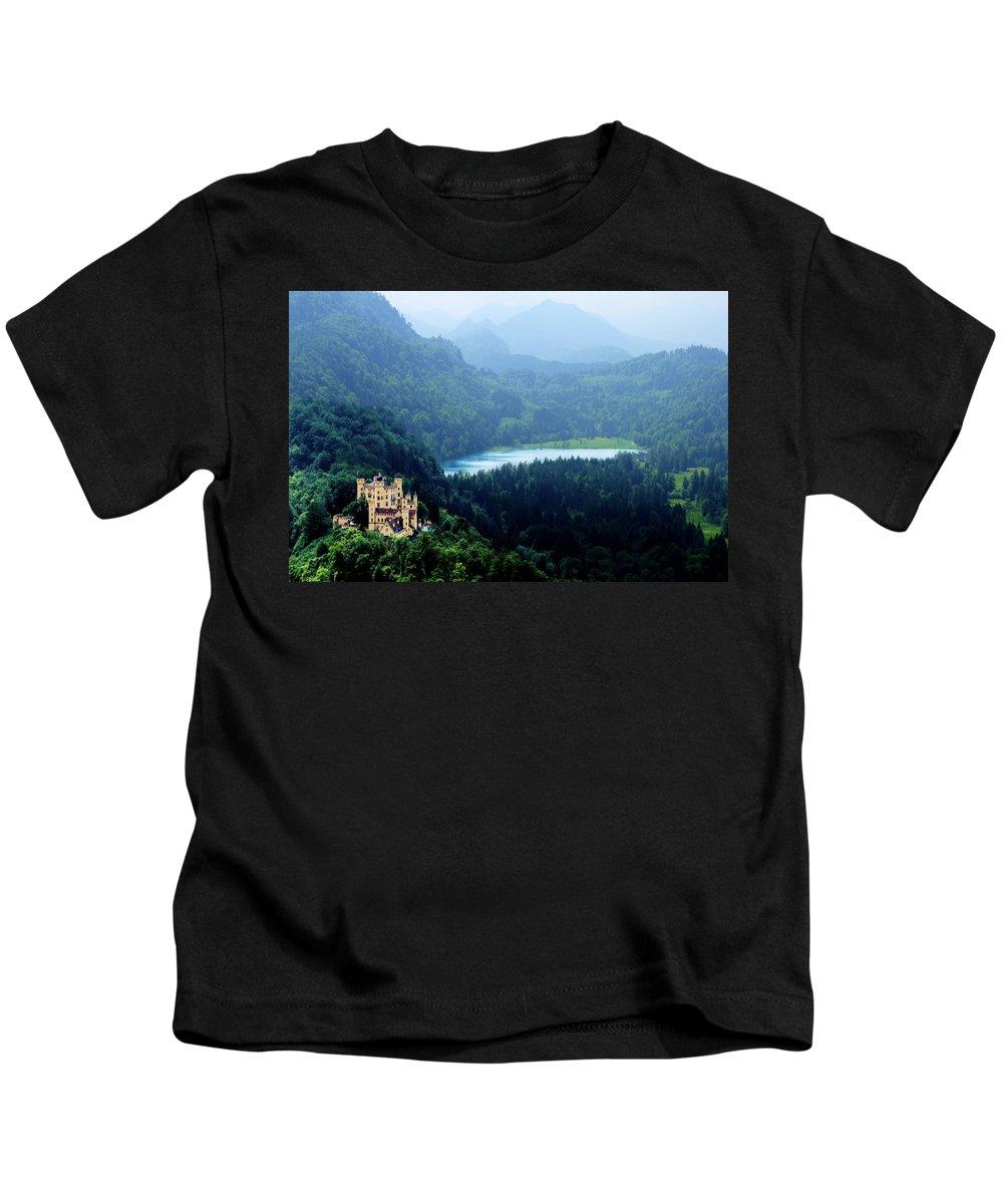 Castle Kids T-Shirt featuring the photograph Castle Hohenschwangau 2 by Wolfgang Stocker