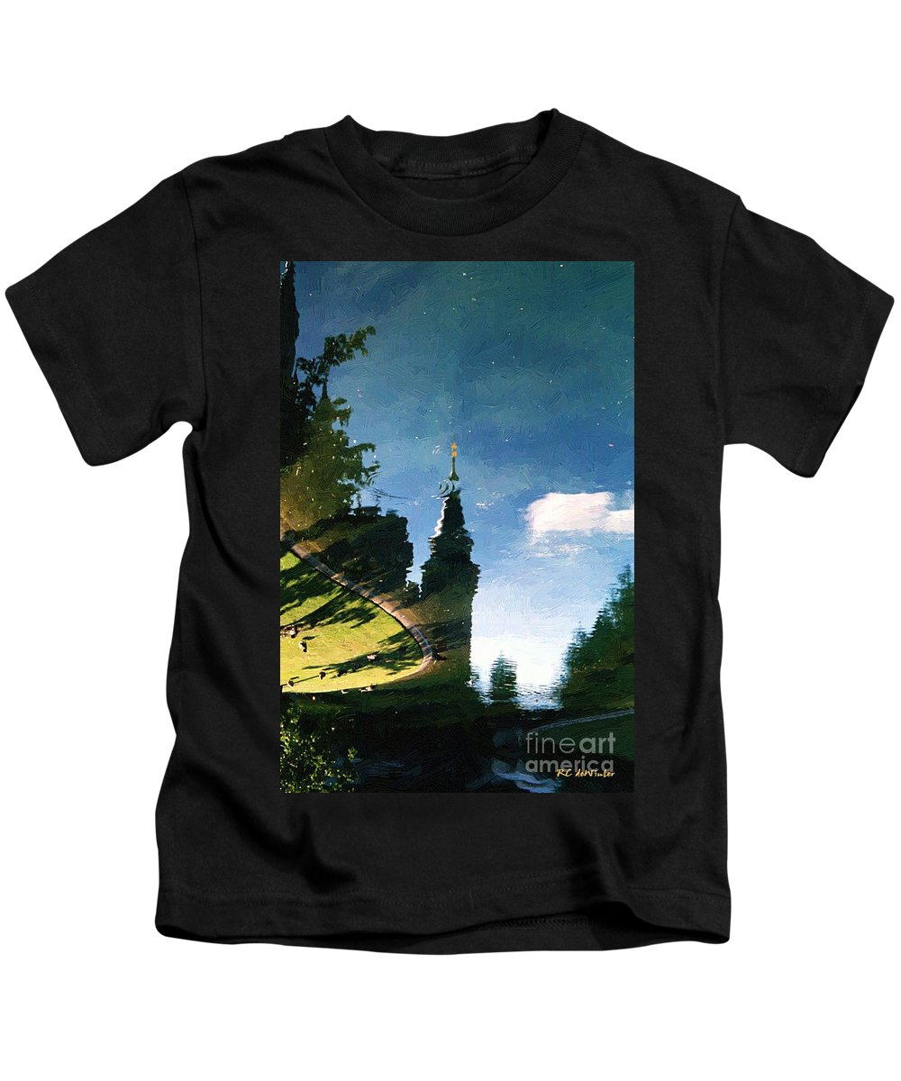 Castle Kids T-Shirt featuring the painting Castle In The Lake by RC DeWinter
