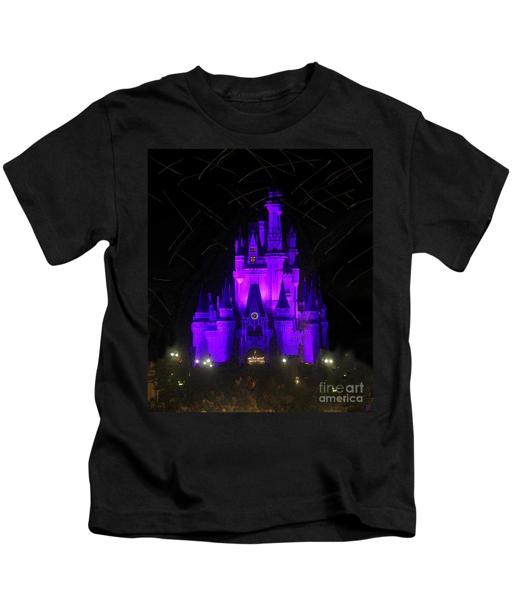 Castle Kids T-Shirt featuring the painting Castle Of Cinderella by David Lee Thompson