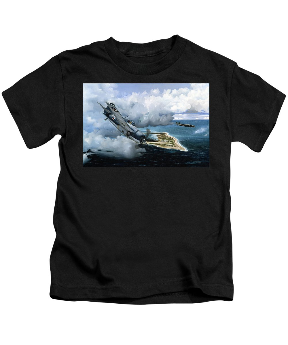 Military Kids T-Shirt featuring the painting Cat and Mouse Over Wake by Marc Stewart