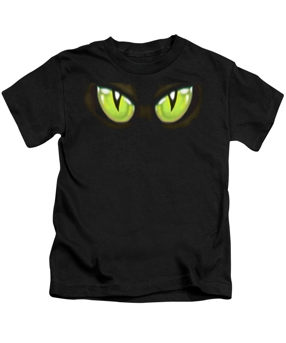Cat Kids T-Shirt featuring the painting Cat Eye by Kevin Middleton