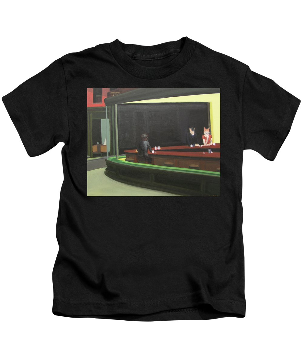 Nighthawks Kids T-Shirt featuring the painting Cat Hawks At The Diner by Gail Eisenfeld