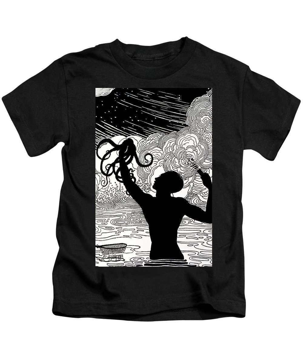 1930 Kids T-Shirt featuring the painting Catching Octopus by Hawaiian Legacy Archive - Printscapes