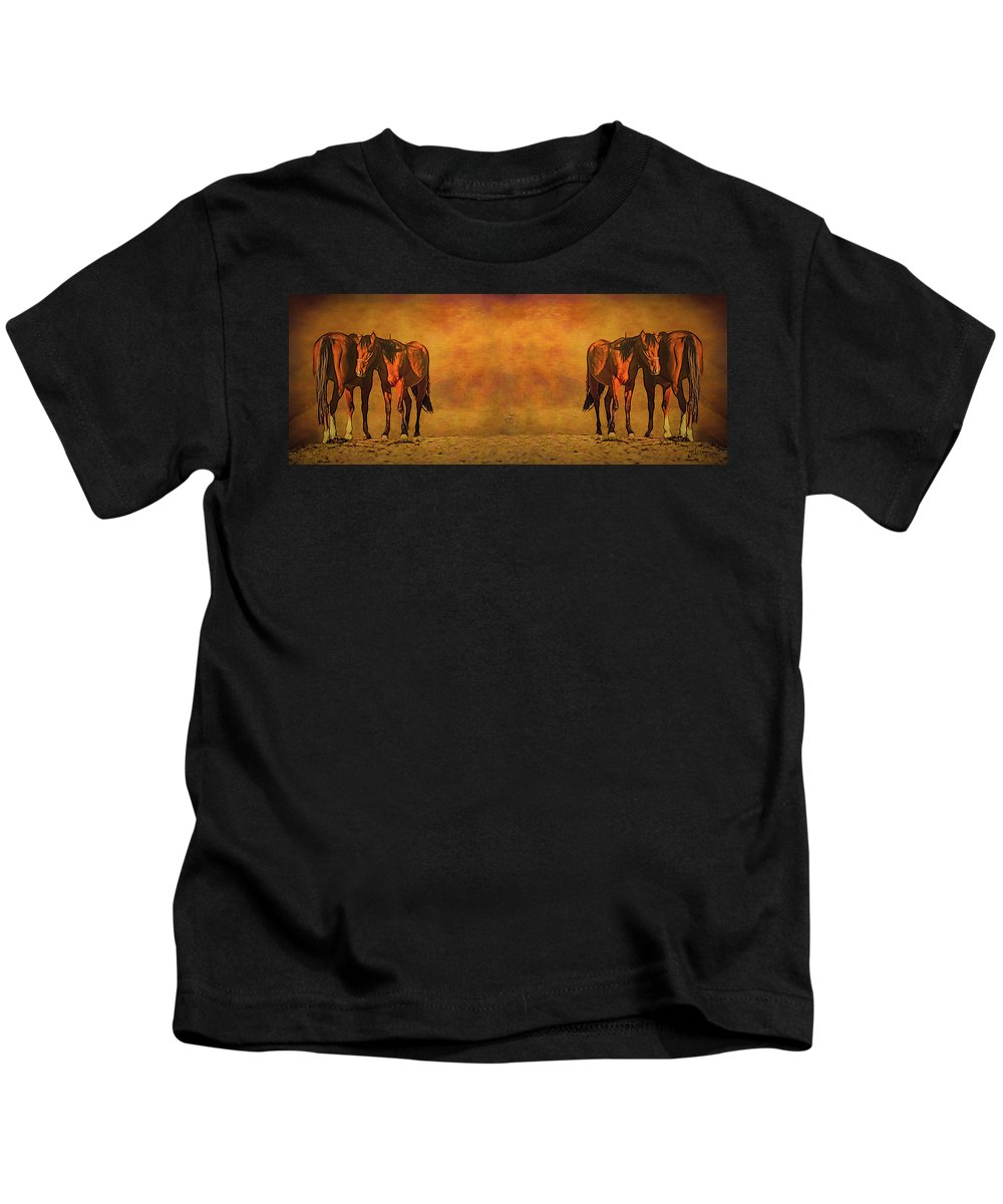 Horse Kids T-Shirt featuring the mixed media Catching The Last Sun_b2 by Walter Herrit