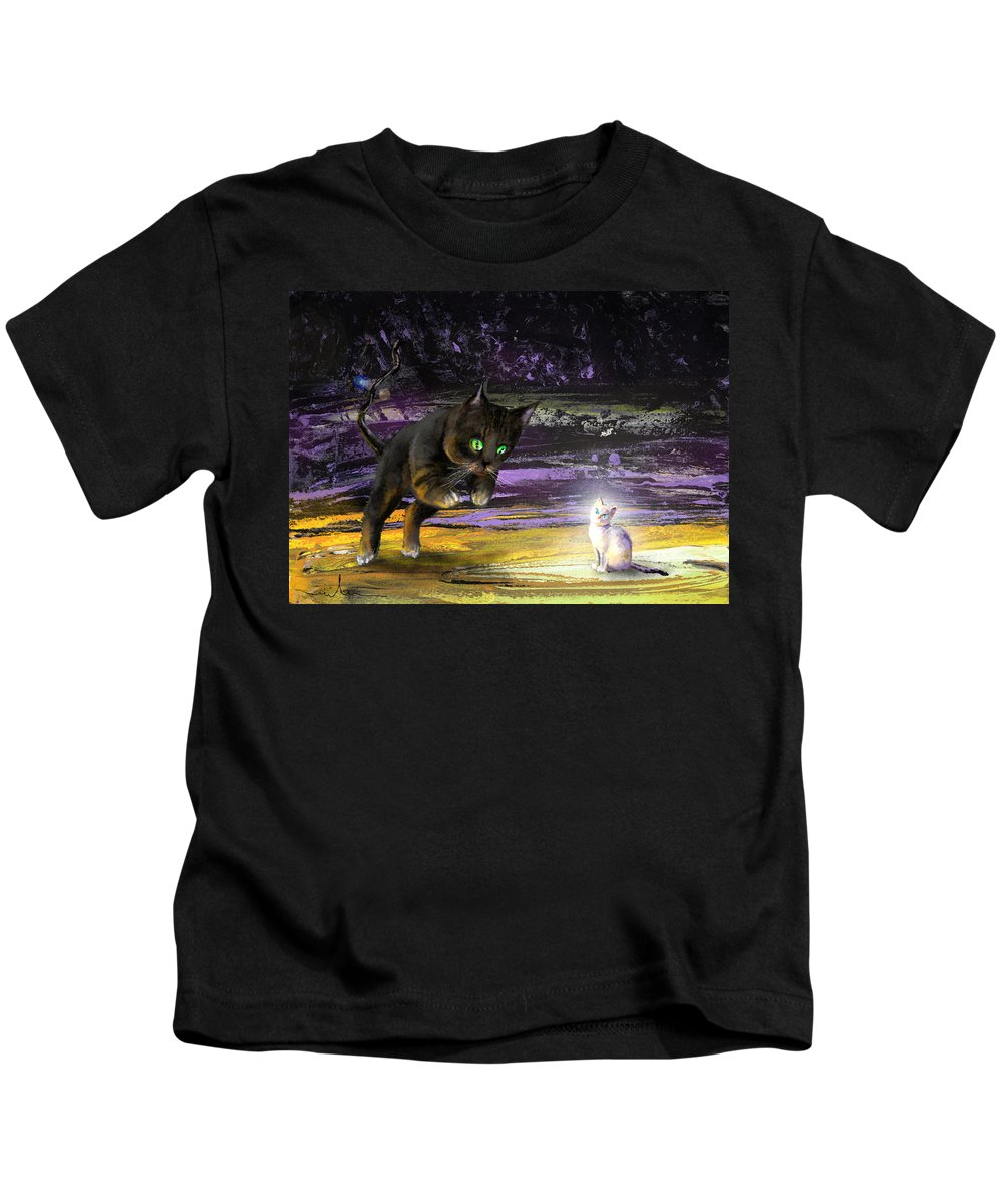 Cats Kids T-Shirt featuring the painting Catechismic Apparition by Miki De Goodaboom