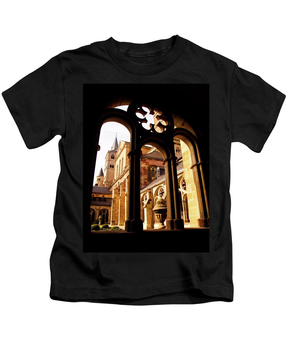 Architecture Kids T-Shirt featuring the photograph Cathedral Of Trier Window by Steven Myers