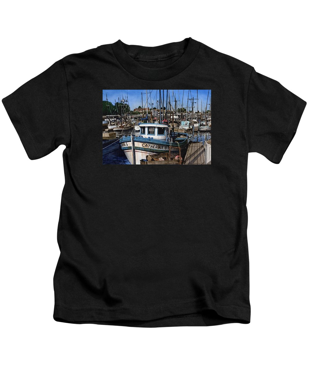 Transportation Kids T-Shirt featuring the painting Catherina G by James Robertson
