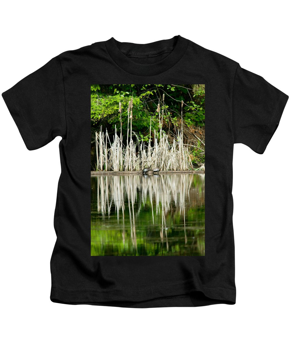 Naturescape Kids T-Shirt featuring the photograph Cattail Reflection by Randall Ingalls